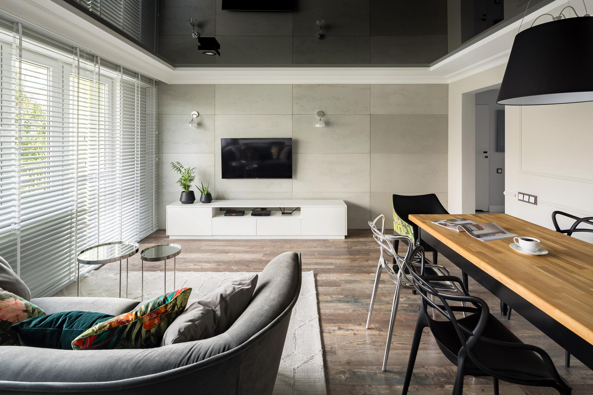 modern home with venetian blinds