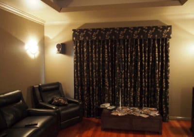 Living room with dark curtains