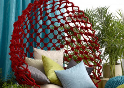 Maurice Kain blue curtains with cushions