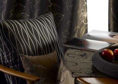 Maurice Kain dark floral curtains
