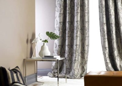 Maurice Kain grey leaf print curtains