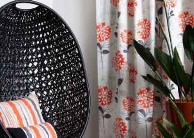 Maurice Kain orange floral curtains
