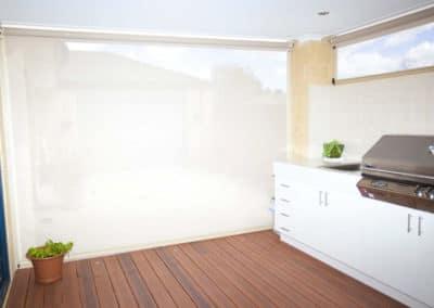 White Ziptrak blinds on deck