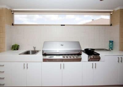 Ziptrak blinds above grill