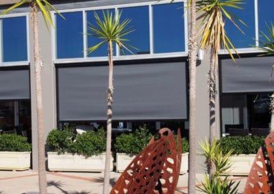 Ziptrak blinds at outdoor cafe