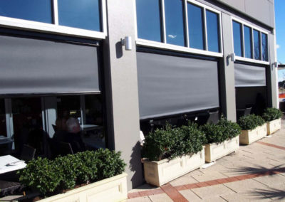 Ziptrak blinds from outside cafe