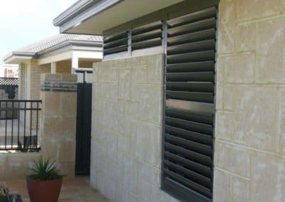 black aluminium shutters