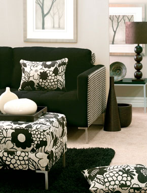 black and white patterned furniture