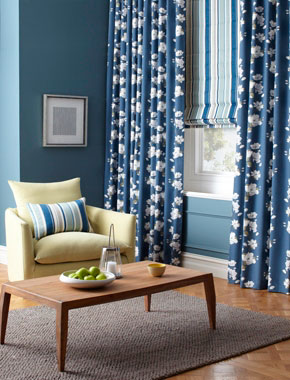 blue floral curtains with striped roman blinds