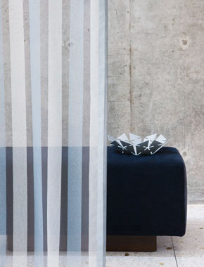 blue sheer striped curtain
