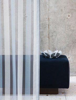blue sheer striped curtain