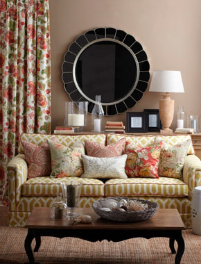 bright floral curtains in living room