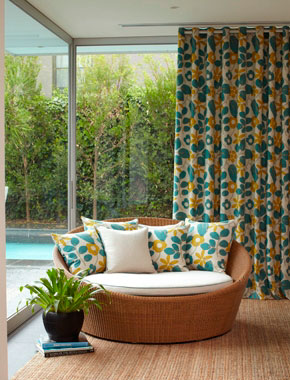 bright patterned curtains in living room
