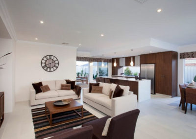 brown and white home with patterned pelmets