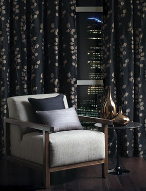dark patterned curtains