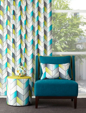 grey and teal patterned curtains