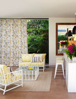 grey and yellow floral curtains in living room
