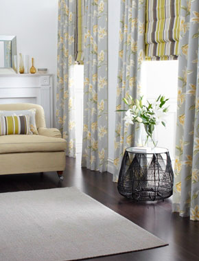 grey and yellow floral curtains