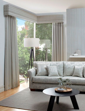 grey curtains with patterned pelmet
