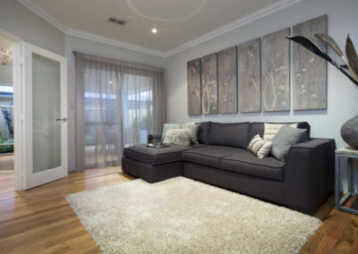 grey sheer curtains in living room