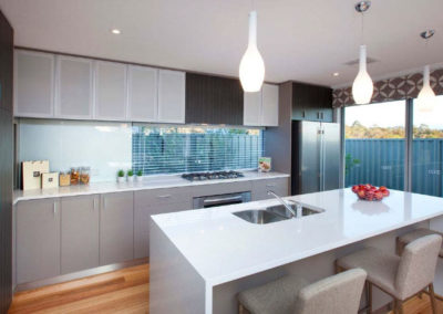 kitchen with venetian blinds