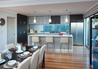 kitchen with white venetian blinds