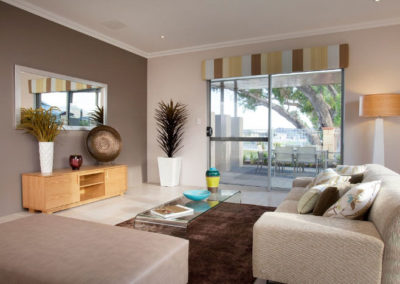 living room with pelmets