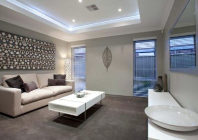 living room with venetian shades