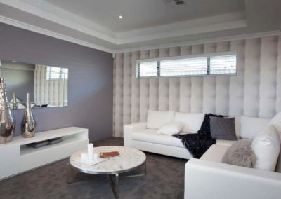 living room with white venetian blinds
