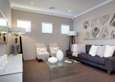 living room with white venetians