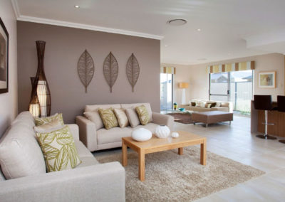 living room with yellow pelmets
