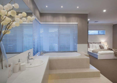 master bathroom with venetian blinds