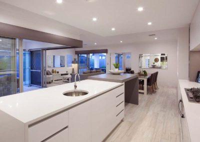 minimal kitchen with grey pelmets