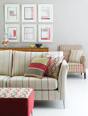 mixed print fabric chairs and couches