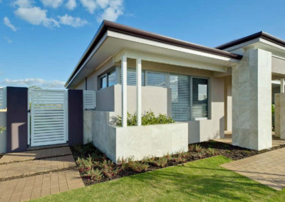 new home with closed venetian blinds