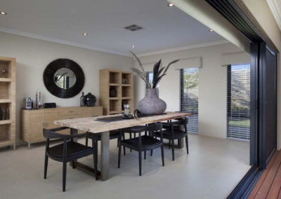 open home with white venetian blinds