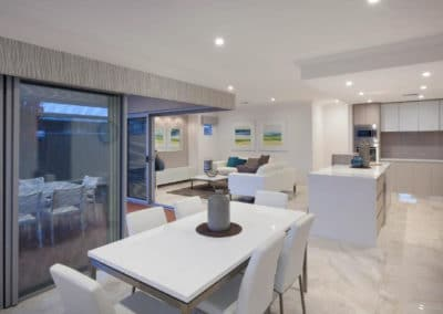open plan home with grey pelmets