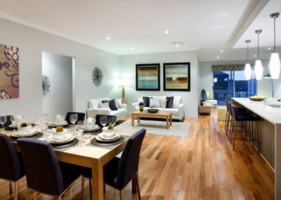open plan home with patterned pelmet