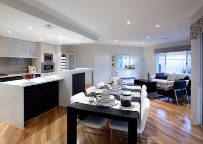 open plan home with patterned pelmets