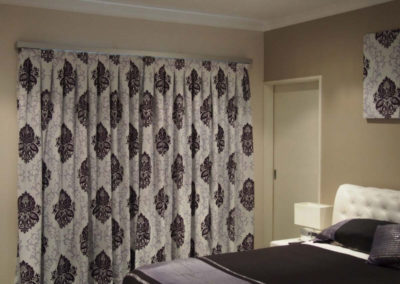 purple damask curtains