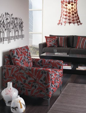 red patterned living room furniture