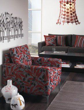 red patterned living room furniture