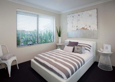 room with venetian blinds
