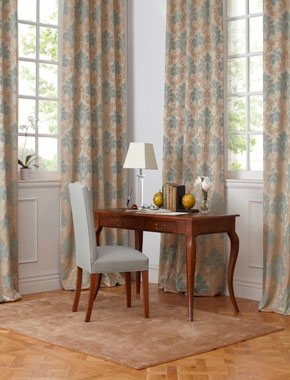 study with damask curtains