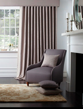 taupe curtains with padded pelmet