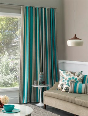 teal striped curtains