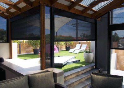 ziptrak blinds in backyard