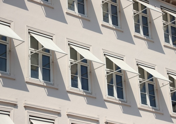 building with white awning